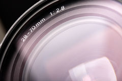 Close-up 28-70mm f2.8 camera lens. Stock Images