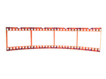 Close-up of 35 mm flim-strip (single). Old 35 mm film-strip as placeholder to put images in (isolated, single strip Stock Photos