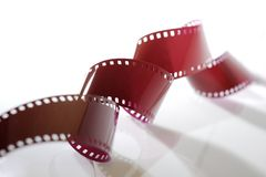 Close-up of 35mm film strip. On white background Royalty Free Stock Image