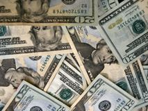 Close up. Of 20 dollar bills Stock Images