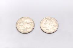 Close-up aan het Symbool Staat van de Noord- van Dakota op het Muntstuk van de Kwartdollar op Witte Achtergrond Royalty-vrije Stock Foto