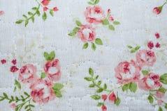 Close-up aan Mooie Perzik Rose Flower Vintage Fabric Stock Afbeeldingen