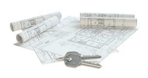 Close-up aan sleutels op huisplannen Royalty-vrije Stock Foto