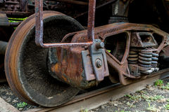 Close up of abandoned train car wheel and suspension. Virginia Museum Of Transportation Royalty Free Stock Photo