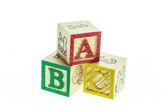 Close up ABC colorful alphabet blocks isolated on white Royalty Free Stock Photo