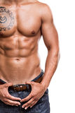 Close-up of the abdominal muscles Royalty Free Stock Images