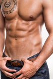 Close-up of the abdominal muscles Royalty Free Stock Image