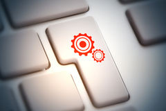 Teamwork concept. Close up of abstract keyboard button with cogwheel icon. Teamwork concept. 3D Rendering Stock Images