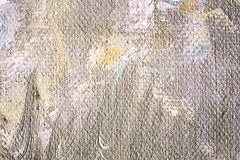 Abstract oil painting texture wallpaper. Close up of abstract oil painting on canvas texture wallpaper with brush strokes in brown grey and yellow colors stock images
