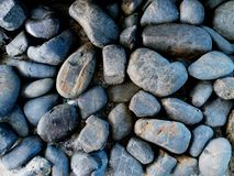Close up abstract and pattern of gray or black gravel stones. Small or Big rocks textured Stock Images