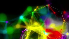 Close-up of abstract plexus of rainbow rays from numerous points, computer generated background, 3d rendering
