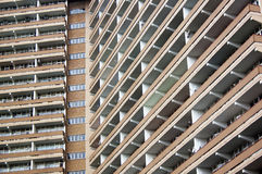 Close Up Abstract View Of High Rise Apartment Building Stock Images