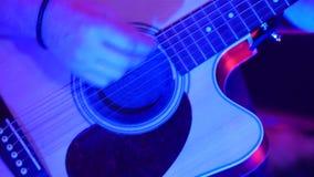 Close-up acústico do jogador da guitarra vídeos de arquivo