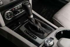 Black interior in car royalty free stock photography