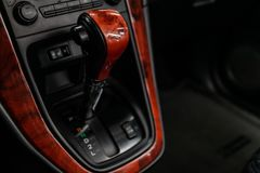 Black interior in car stock photography