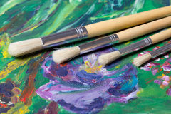 Close up of acrylic paint and paint brushes set Stock Photography