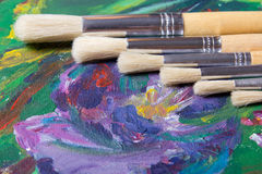 Close up of acrylic paint and paint brushes set Stock Photos