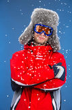 Close up of active man freezing in snow. Stock Photos