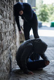 Close up of addicts on street Royalty Free Stock Photography