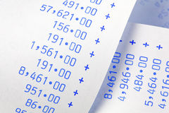 Close-up of Adding Machine Printouts Stock Image