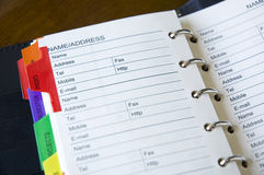 Close up address book. Close up name and address page in personal organizer Stock Photography