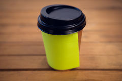 Close up of adhesive note stuck on disposable cup Stock Photography