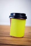 Close up of adhesive note stuck on disposable cup Stock Photos