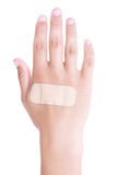 Close up of adhesive plaster on male hand isolated on white. Background Royalty Free Stock Image