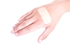 Close up of adhesive plaster on male hand Stock Photography
