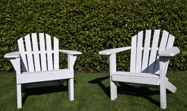 Close up of Adirondack chairs Royalty Free Stock Images