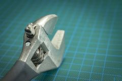 Close up adjustable wrench for hexagonal fasteners royalty free stock photography