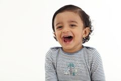 Close up of smiling baby boy stock photography