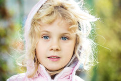 Close up adorable little girl outdoors Royalty Free Stock Photos