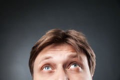 Close-up of adult man looking up Royalty Free Stock Photos