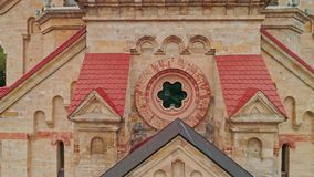 Close-up Aerial view of the architectural details of Odessa Lutheran St. Paul`s Cathedral in gotchic style