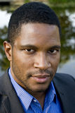 Close up of African American Male in suite Royalty Free Stock Image