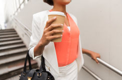 Close up of african businesswoman with coffee Stock Photography