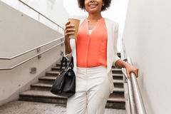 Close up of african businesswoman with coffee Royalty Free Stock Photography