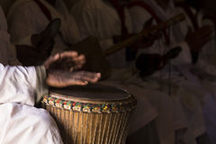 Close up of an African djembe drummer.  Stock Photography
