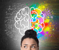 Close up of African girl's head and brain image Royalty Free Stock Photography
