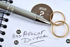 Appointment in french to the lawyer for divorce royalty free stock photography