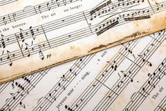Close up of aging sheet music Stock Photography