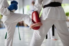 Close up of aikido trainer and boy practicing punches royalty free stock image