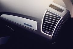 Close up of air condition vent in a modern car. stock image