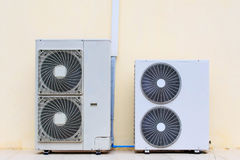 Close up air conditioner heating units installation outside of b Royalty Free Stock Images