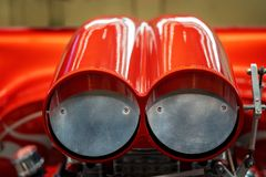 Close Up Of Air Intake On Supercharger Hot Rod. Close up of air intake of supercharged classic hot rod royalty free stock photography