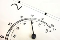 Close up of air temperature indicator. Scale in Celsius and Fahrenheit with black needle and numbers. Thermometer with high value. Of parameter royalty free stock photography
