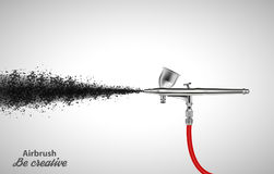 Close up of a airbrush paint sprayer  on white background. Vector illustration Stock Photo