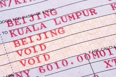 Close Up on Airline Ticket Royalty Free Stock Image