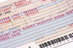 Close Up on Airline Ticket Royalty Free Stock Photos